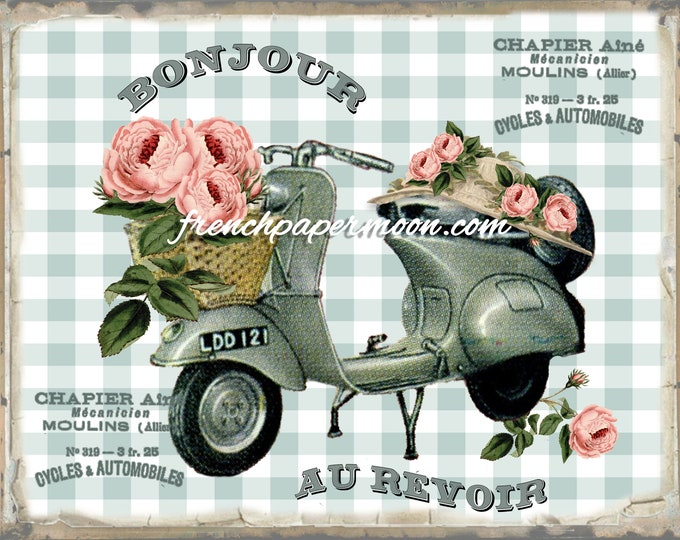 Whimsical Vintage Vespa Graphic, Roses, Hat, French Typography, Pillow Image, Fabric Transfer, Large Size, Vespa Printable