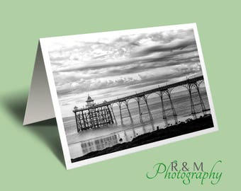 Pier Greeting Card - clevedon pier - pier - photo greeting card - seascape blank card - any occasion card - greetings card - nature card