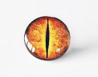 25mm handmade glass eye cabochon - orange reptile or dragon eye - standard profile