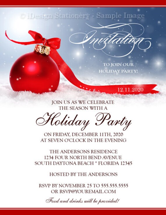 DIY Printable Holiday Party Invitation Christmas Invitations Festive Corporate Template Invites