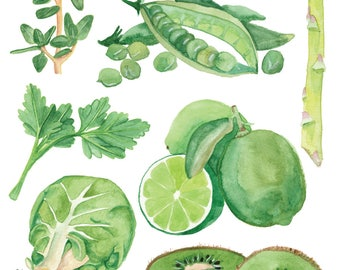 Food Illustration GOING GREEN Watercolour Illustration Print