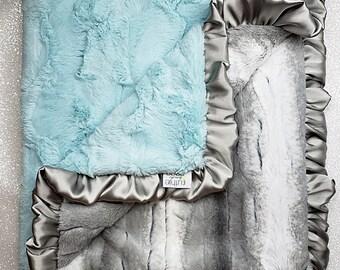READY TO SHIP Minky blanket, baby girl blanket, baby gift, Aqua and Grey, Seaglass Hide, baby boy, Elegant Blanket, ruffle blanket, plush