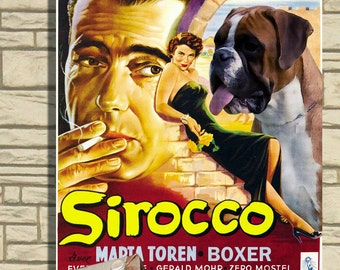 Boxer Dog Vintage Movie Style Poster Canvas Print   Perfect DOG LOVER GIFT Gift for Her Gift for Him Home Decor