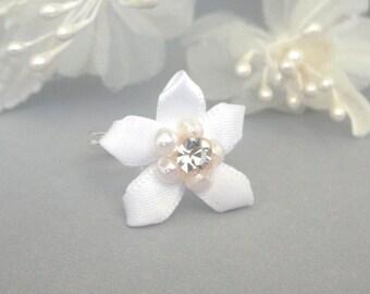 White flower ring, adjustable, snow white floral, camellia ring