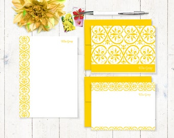 complete personalized stationery set - ELEGANT ELLA - personalized stationary set - note cards - notepad - women's gift - gift for her