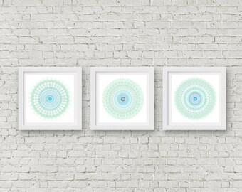 Set of 3 prints boho decor teal wall art blue and white mint green decor bright color geometric art bohemian decor mandala art office decor