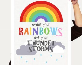 rainbow nursery decor kids prints - count your rainbows - nursery art baby gift, rainbow wall art, rainbow quote positive quote, rainbow art