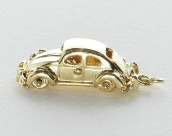 Vintage VW Bug Charm, 14K Gold