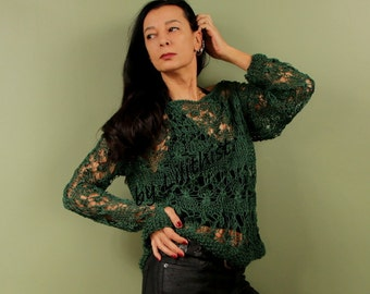 Green Top, Knit Lace Top Sweater, Knit Sweater For Women, Top Tunic, Cotton Lace Top, Forest Green Long Sleeve Blouse, Open Work Sweater