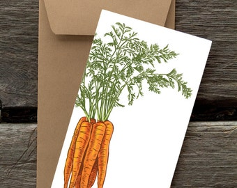 BF35: Carrots  - 8 Blank flat notecards and envelopes