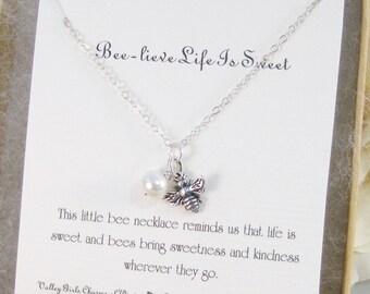 Beelieve Life Is Sweet,Necklace,Silver,Bee Necklace,Bracelet, Bee,Birthstone,Sterling ,Personalize,Pearl,Bride,Wedding. valleygirldesigns.