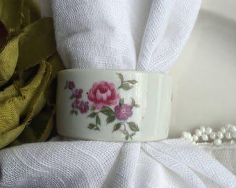 Shafford Bone China Napkin Rings Floral Roses Pink Yellow Blue  Vintage Set 4 - #J4029