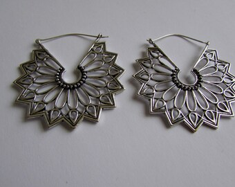 Large Mandala White Brass Floral Design Hoop Earrings Tribal Earrings Jewellery Free UK Delivery Gift Boxed WB64