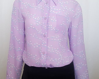 Vintage 70's HANAE MORI PARIS Pastel Lilac, Blue and White Lotus Flower Print , Semi Sheer Button Down Shirt w Insignia Logo Buttons