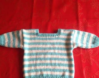Hand knit 6-12 months Square neck jumper green stripes