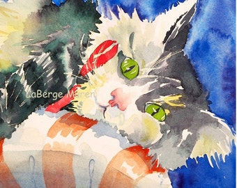 Cat picture, Cat art Print, Green eye cat, Kitty illustration, Striped cat, Black and white stripes, Cozy cat, Watercolor Print, LaBerge