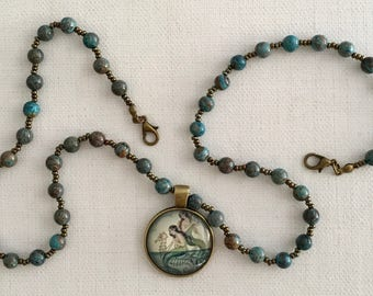Vintage Style Blue Brown Mermaid Necklace
