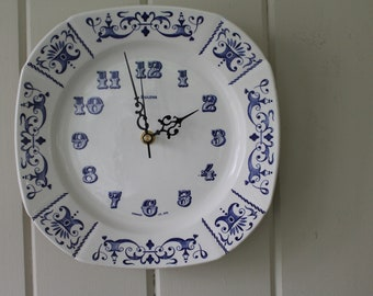 Vintage Gien France Square Blue and White Bulova Porcelain Plate Clock // Made in France // Battery Operated