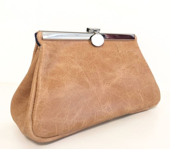 Leather cosmetic bag,cosmetic purse,kaa berlin, Make up bag, Clutch, Baskets, beige,