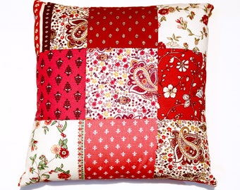 handmade patchwork pillow with print fabrics from Provence, France