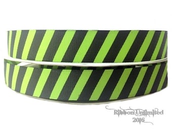 100 Yards 7/8 Inch Lime/Black Diagonal Stripe Grosgrain Ribbon