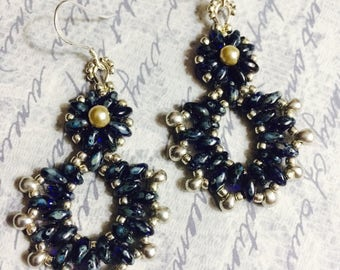 Navy Blue and Silver Beaded Earrings