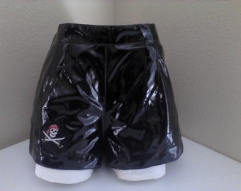 Black pleather shorts with a pirate patch!