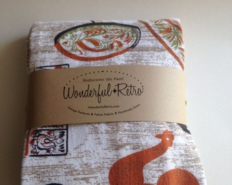 1950-60s Tablecloth pristine condition featuring Mid Century styling of Early Americana Rooster Weathervane Butterchurn