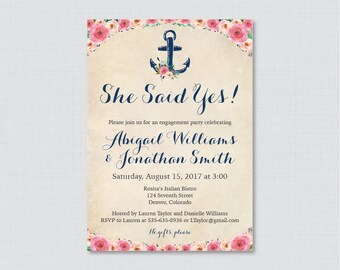 Nautical Engagement Party Invitation Printable or Printed - Floral Nautical Engagement Party Invitations, Anchor Flowers Nautical Party 0020