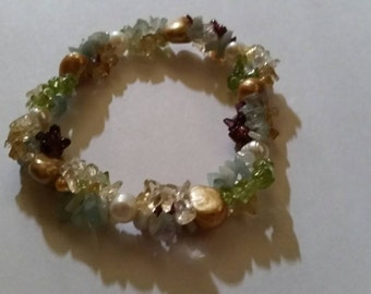 Colorful Stone and Pearl Bracelet Multi-colored