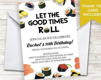 Sushi party invite etsy sushi invite dinner party birthday invitation adult 5x7 digital personalized japanese food stopboris Images