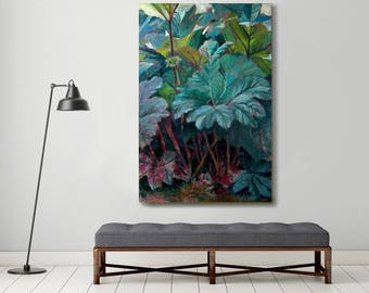large original oil painting, plant painting, green painting, botanical art, contemporary painting, leaves painting ,large canvas, original