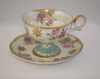 Vintage Royal Halsey Japanese Tea Cup Very Fine China Cup and Saucer, Rose Decor, Gold Trim, Luster Finish, Made in Japan, Porcelain Tea Cup
