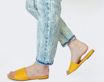 Yellow slip on shoes, Womens yellow shoes, Yellow slippers, Stylish slip ons, Leather shoes, SUMMER SHOES, Open toe shoes, Handmade shoes