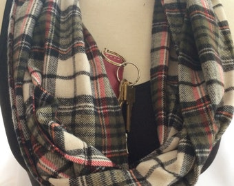 Plaid infinity scarf, secret pocket infinity scarf, accessory, hidden pocket scarf, passport holder, flannel scarf, passport holder, scarf