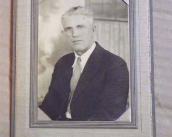 Vintage 1920s Cabinet Card Photograph Portrait of a Man in Suit Montel Morris