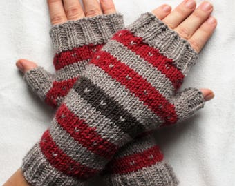 handknit wool gloves, striped fingerless mitts, winter mittens, driving gloves, wrist warmers, choose your color, MADE TO ORDER