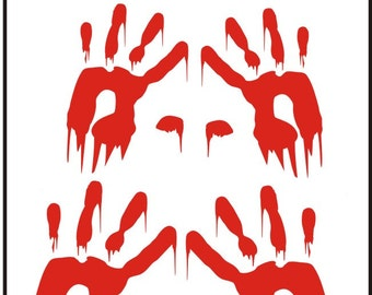 Halloween Decal Bloody handprints you choose size