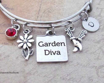 Garden Diva Garden Shears and Flower Charm Personalized Hand Stamped Initial Birthstone Garden Charm Stainless Steel Bangle Bracelet