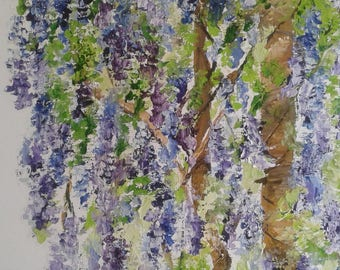 """Palette knife oil painting """"Wisteria"""""""