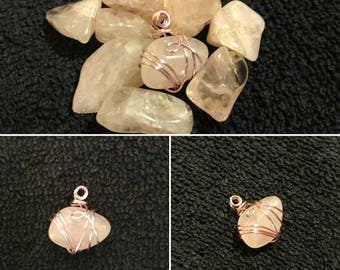 Rose Quartz - Wire Wrapped Pendant
