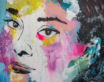 """Audrey Hepburn -  Pop Art Portrait - (90x70cm) FREE SHIPPING 35.4""""x27.6"""" acrylic painting ready to hang, hand painting by Carlos Pun"""