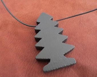 Pendentif arbre de jouet en bois - noir
