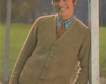 Mens Cardigan PDF Knitting Pattern : Mans 40, 42 & 44 inch chest . Slouch Cardigan . DK . Instant Digital Download