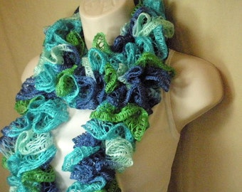 Teal Blue and Green Lacy Ruffled Knit Fashion Scarf Multicolor