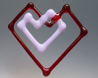 Double-Heart Fused Glass Ornament Suncatcher - Red with Pale Lavender