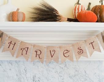 Harvest Banner, Harvest Burlap Banner, Wheat Harvest Banner, Fall Banner, Fall Decor, B187
