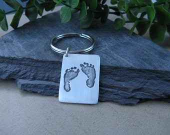 Your Baby's Footprints on a Fine Silver Keychain...Made to Order