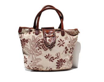 Vintage Ivory Canvas & Brown Leather Large Tote Bag