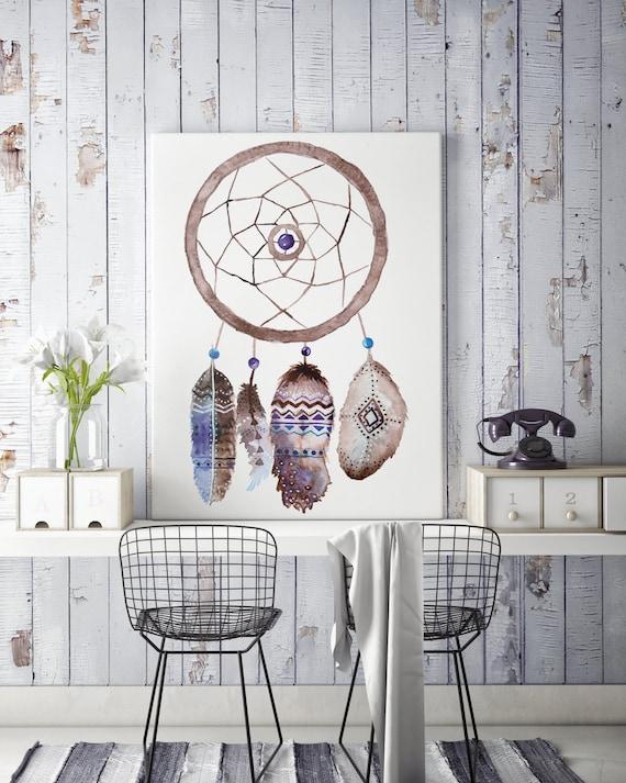 Boho dreamcatcher | Canvas art | Wall decor | Hippie art | Feathers | Dreamcatcher | Native americans art | art prints for sale | Watercolor